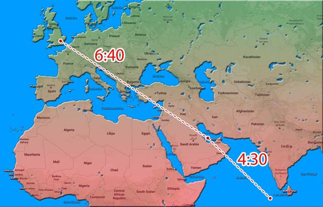 A map of the route from Heathrow to Doha to Male on a Qatar Airways Airbus