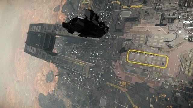 An edited screenshot to locate the hangers at Lorville from the air