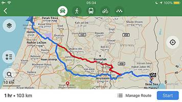 A screenshot of an app offering routes to and from the Dead Sea