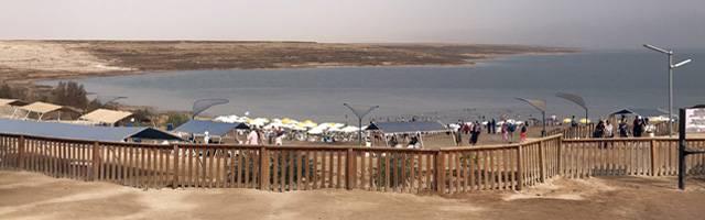 Inside the enclosed public beach at Kalia on the Dead Sea.