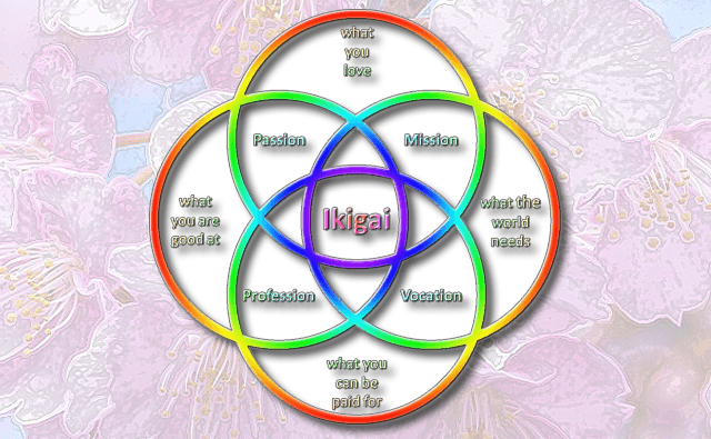 A diagram showing the elements of Ikigai that make it work