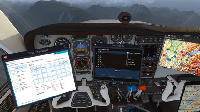 X-Plane in VR adjusting settings