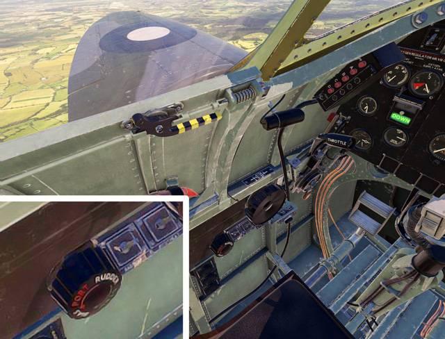 The FlyingIron Spitfire rudder bias trim wheel